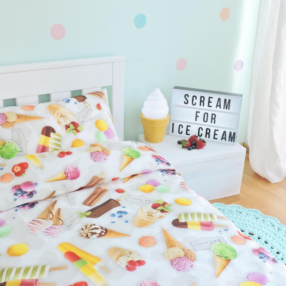 Jäätistega voodipesu lastele - erinevad suurused
