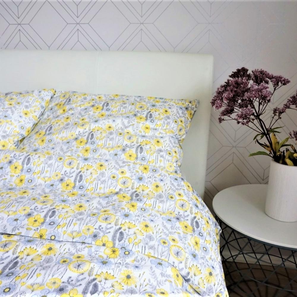 Kollaste põllulilledega voodipesu lastele - erinevad suurused